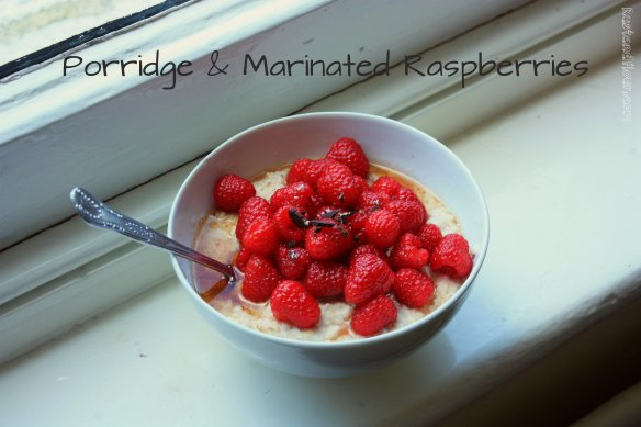porridge with marinated raspberries